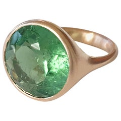 Dalben Design Round Green Tourmaline Rose Gold Ring