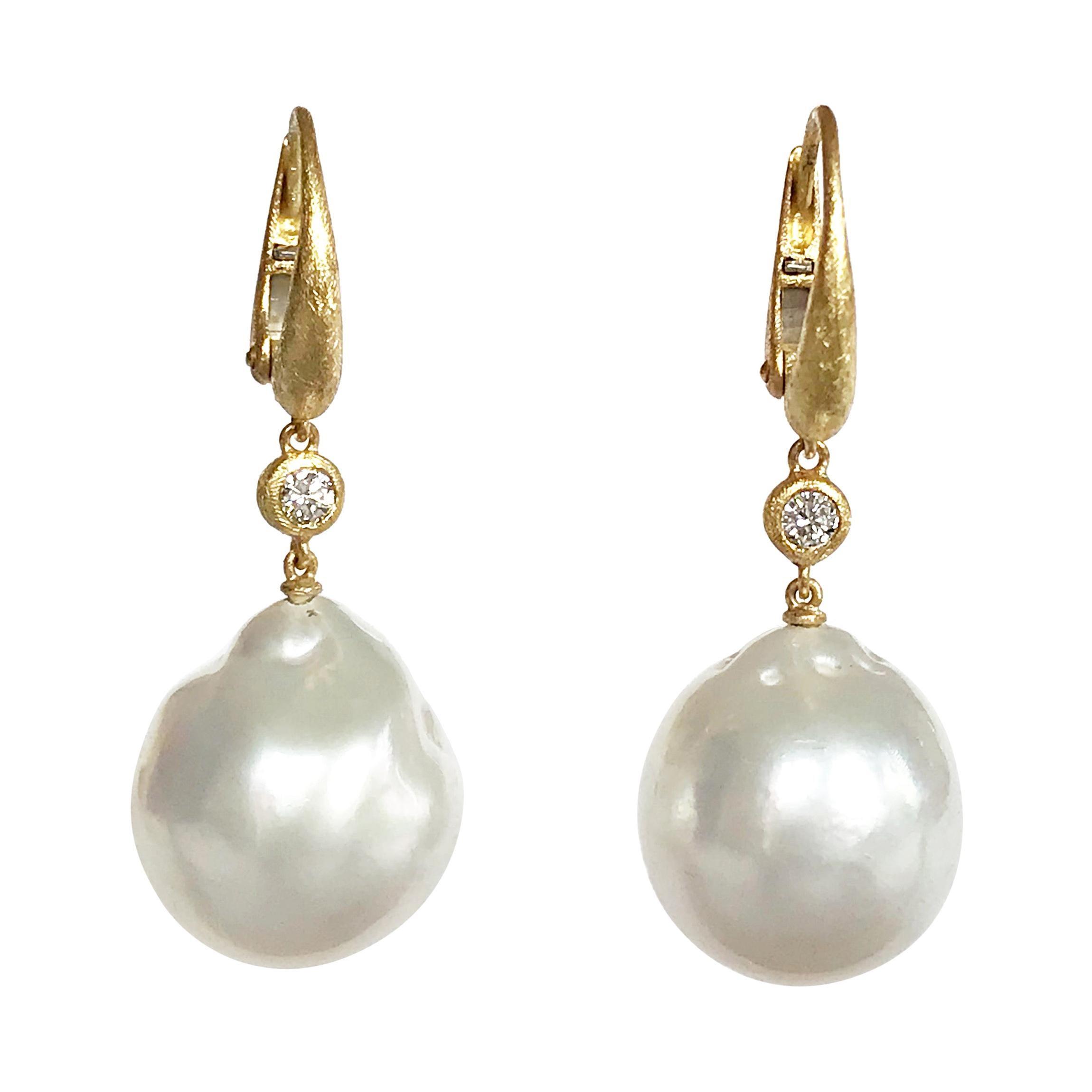 Dalben Design South Sea Baroque Pearl and Diamond Yellow Gold Dangle Earrings