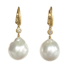 Dalben Design South Sea Baroque Pearl and Diamond Yellow Gold Dangle Earrings