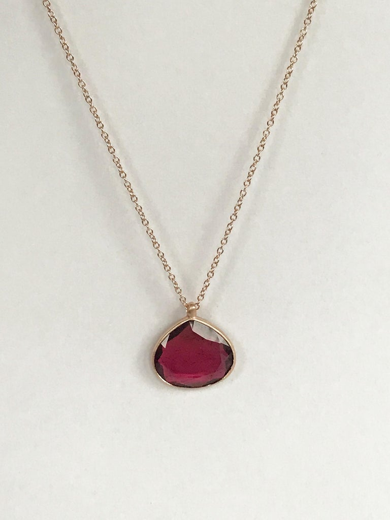 Contemporary Dalben Drop Shape Red Tourmaline Rose Gold Necklace