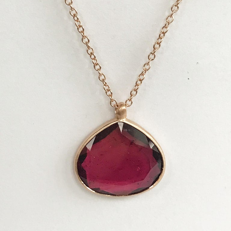 Dalben Drop Shape Red Tourmaline Rose Gold Necklace In New Condition In Como, IT