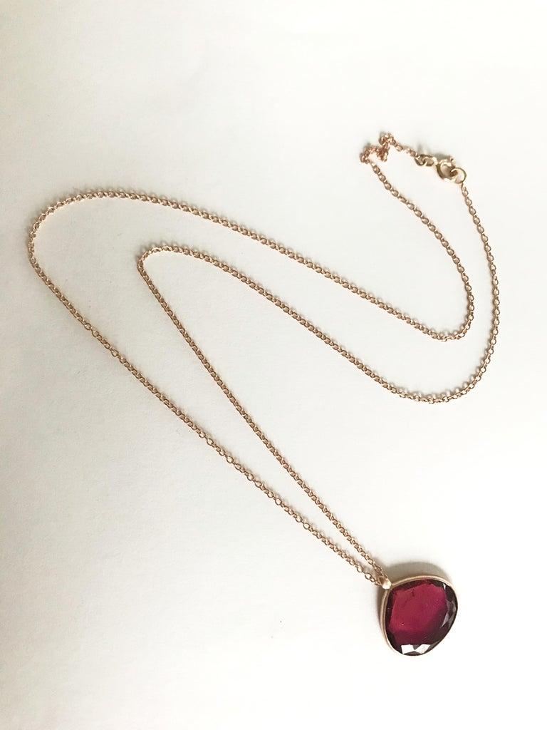 Women's Dalben Drop Shape Red Tourmaline Rose Gold Necklace