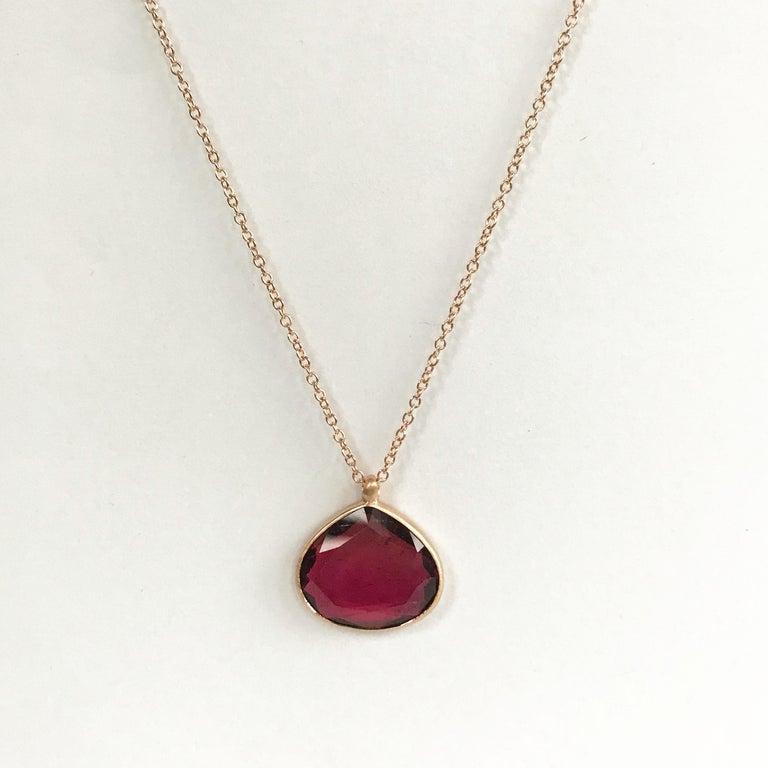 Dalben Drop Shape Red Tourmaline Rose Gold Necklace 1
