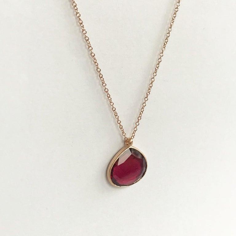 Dalben Drop Shape Red Tourmaline Rose Gold Necklace 2