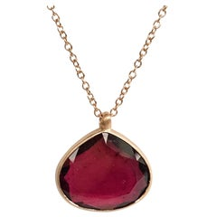 Dalben Drop Shape Red Tourmaline Rose Gold Necklace