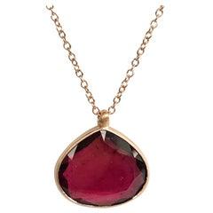 Dalben Drop Shape Red Tourmaline Rose Gold Necklace