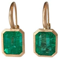 Dalben 4,59 Carat Emerald Rose Gold Earrings