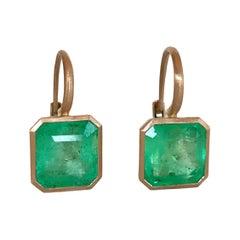 Dalben Emerald Cut Emerald Rose Gold Earrings
