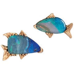 Dalben Fish Shape Australian Boulder Opal Rose Gold Earrings