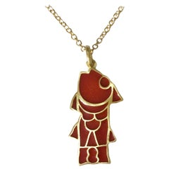 Dalben Fish Shape Red Fire Enamel Yellow Gold Pendant
