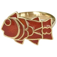 Dalben Fish Shape Red Fire Enamel Yellow Gold Ring