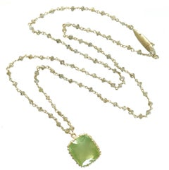 Dalben Green Aquamarine Diamond Gold Rosary Necklace