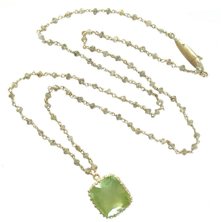 Dalben Green Aquamarine Diamond Gold Rosary Necklace