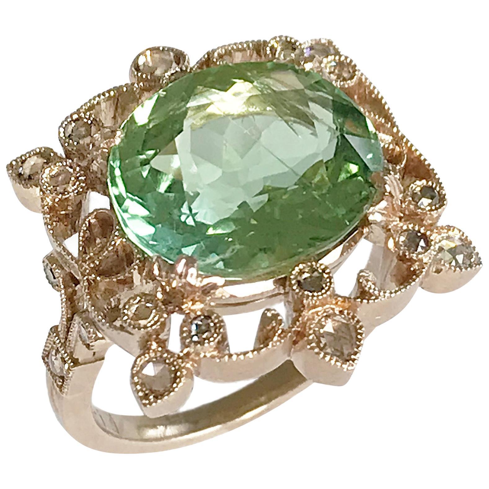 Dalben Green Tourmaline Diamond Gold Ring
