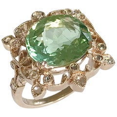 Dalben Green Tourmaline Diamond Gold Ring