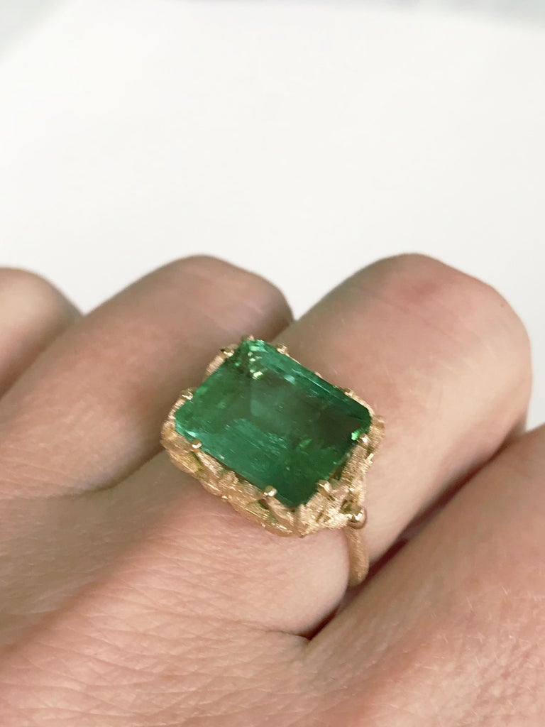 Dalben Green Tourmaline Rose Gold Cocktail Ring For Sale 6
