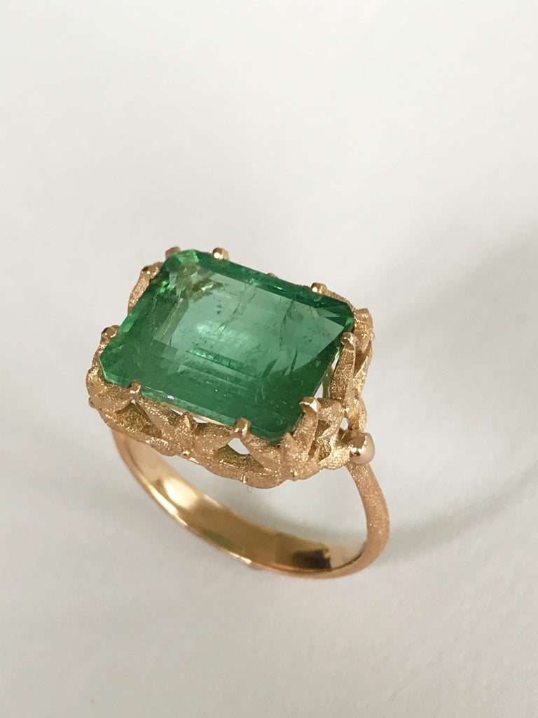 Emerald Cut Dalben Green Tourmaline Rose Gold Cocktail Ring For Sale