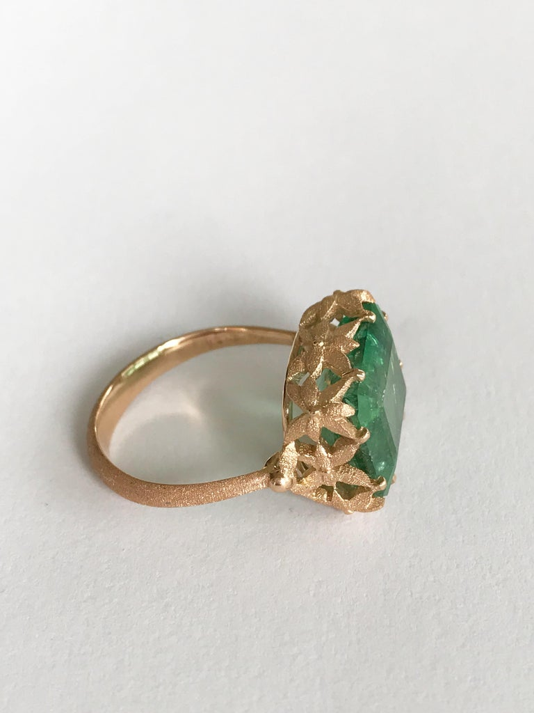 Dalben Green Tourmaline Rose Gold Cocktail Ring In New Condition For Sale In Como, IT