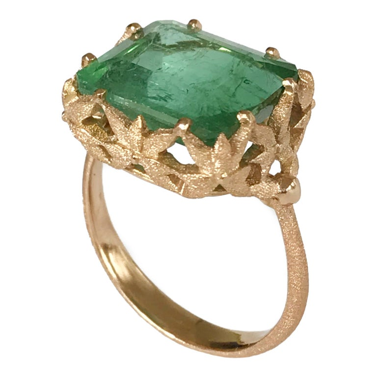 Dalben Green Tourmaline Rose Gold Cocktail Ring For Sale