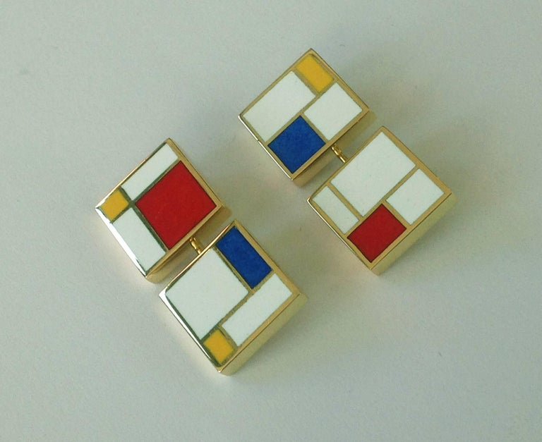 Dalben Homage to Mondrian Enamel Gold Cufflinks For Sale 5