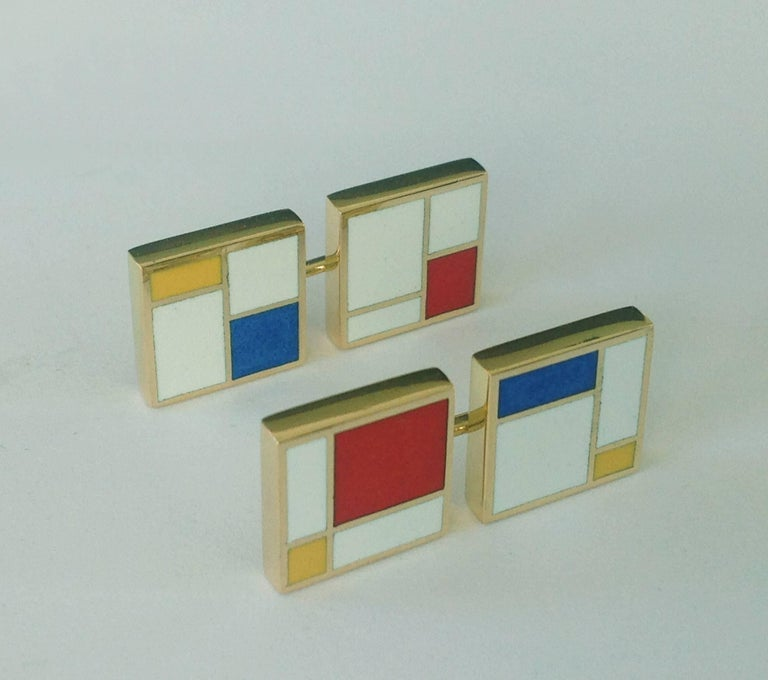 Dalben design fire Enamel and 18 k yellow gold cufflinks inspired by Mondrian paintings. Dimensions:  0,5 x 0,5 in (12,8 x 12,8 mm) The cufflinks have been designed and handcrafted in our atelier in Como Italy with a rigorous quality workmanship .