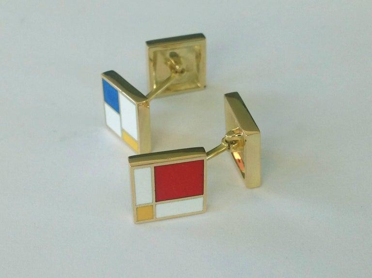 Contemporary Dalben Homage to Mondrian Enamel Gold Cufflinks For Sale