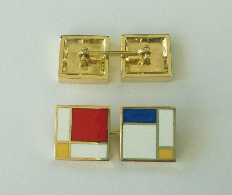 Dalben Homage to Mondrian Enamel Gold Cufflinks In New Condition For Sale In Como, IT