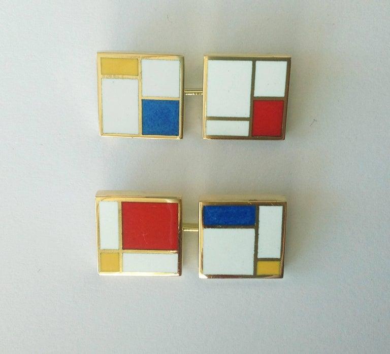 Men's Dalben Homage to Mondrian Enamel Gold Cufflinks For Sale