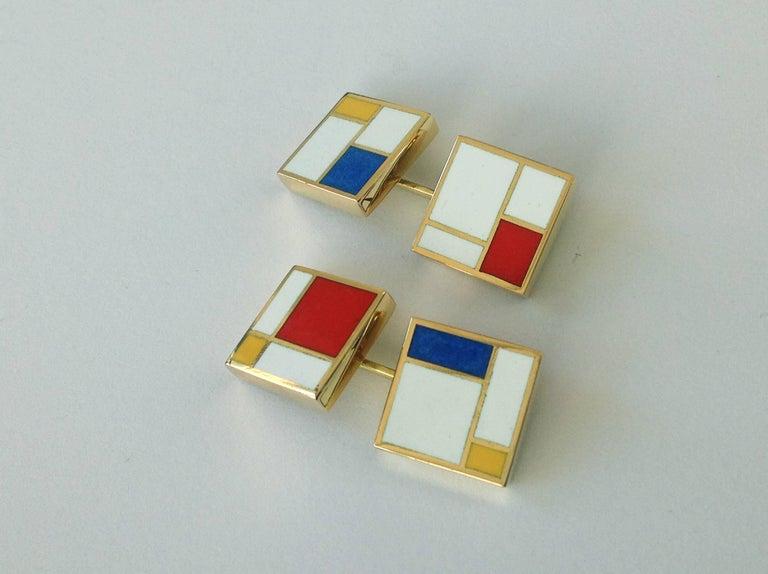 Dalben Homage to Mondrian Enamel Gold Cufflinks For Sale 1