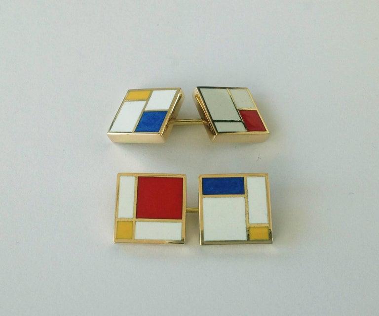 Dalben Homage to Mondrian Enamel Gold Cufflinks For Sale 2