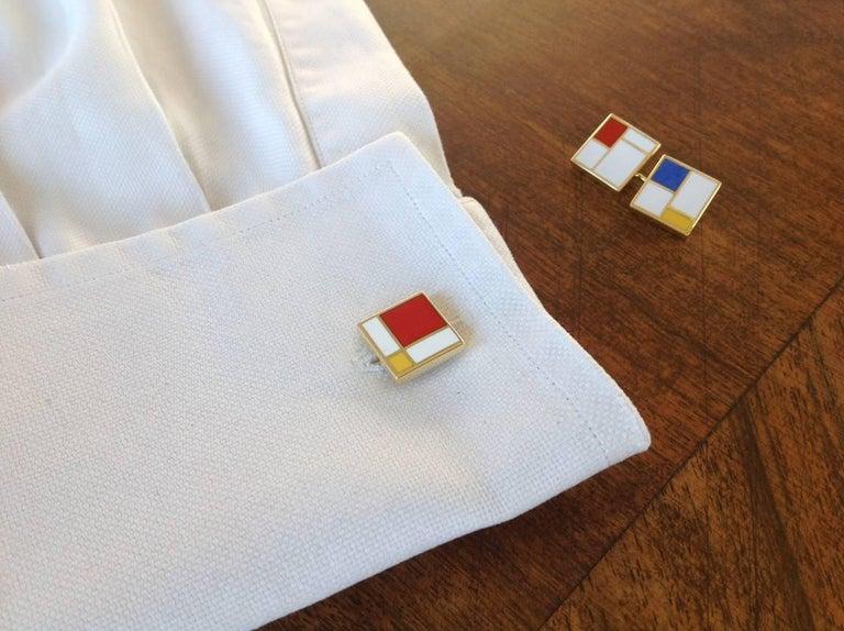 Dalben Homage to Mondrian Enamel Gold Cufflinks For Sale 3