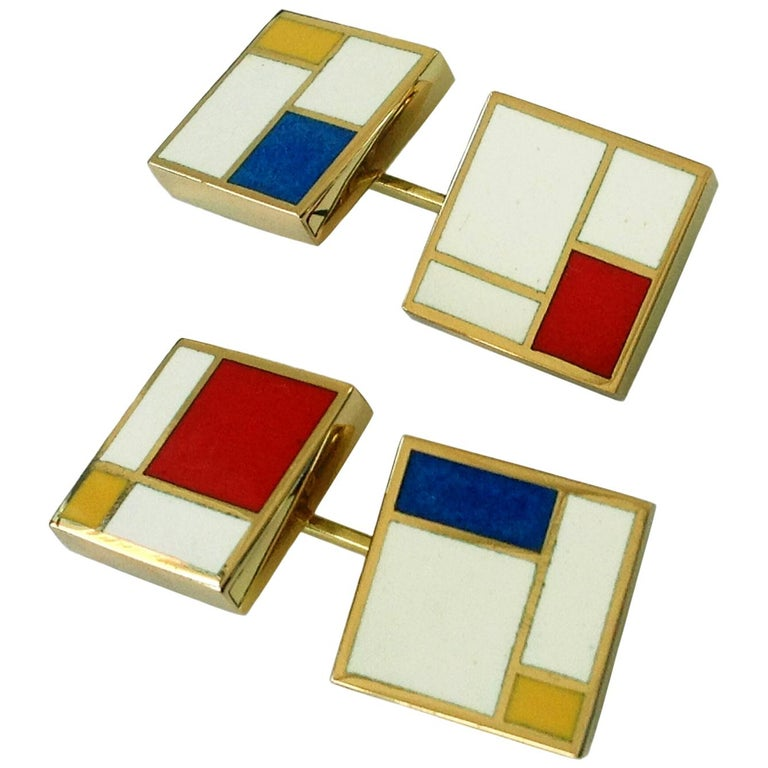Dalben Homage to Mondrian Enamel Gold Cufflinks For Sale