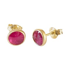 Dalben Irregular Shape Rose Cut Slice Ruby Yellow Gold Earrings