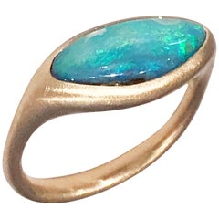 Dalben Light Blue Boulder Opal Rose Gold Ring