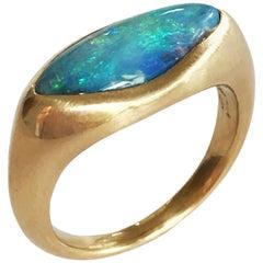 Dalben Light Blue Boulder Opal Yellow Gold Ring