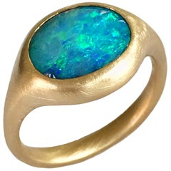 Dalben Light Blue Oval Boulder Opal Yellow Gold Ring