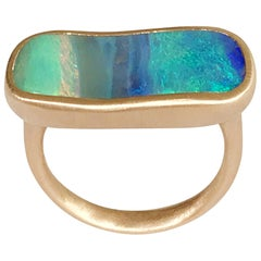 Dalben Light Blue Rectangular Boulder Opal Rose Gold Ring