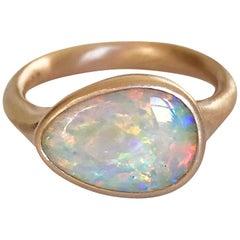 Dalben Lightning Ridge Australian Crystal Opal Rose Gold Ring