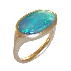 Dalben Lightning Ridge Opal Rose Gold Ring