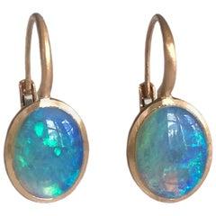 Dalben Little Oval Australian Opal Rose Gold Earrings