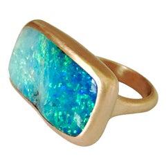 Dalben Magnificent Australian Boulder Opal Rose Gold Ring