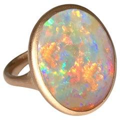 Dalben Magnificent Australian Opal Rose Gold Ring