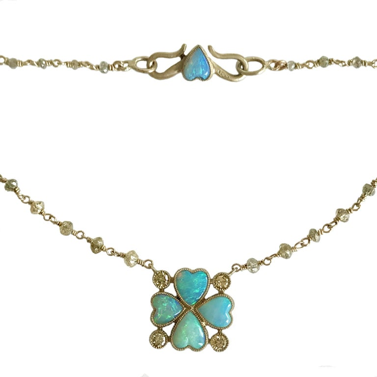 Dalben Opal Diamond Gold Four-Leaf Clover Rosary Necklace