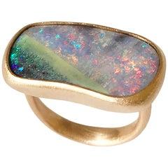 Dalben Oval Australian Boulder Opal Rose Gold Ring