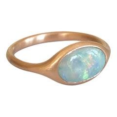 Dalben Oval Australian Crystal Opal Rose Gold Ring