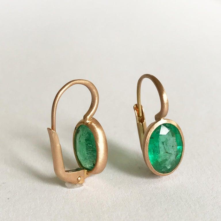 Dalben Oval Cut Emerald Rose Gold Earrings For Sale 5