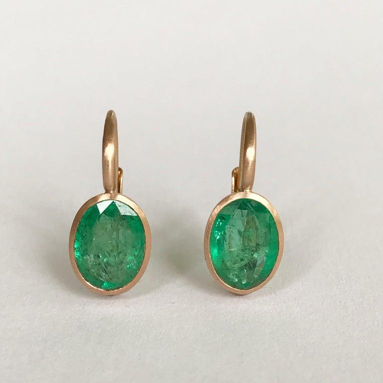 Dalben Oval Cut Emerald Rose Gold Earrings For Sale 6