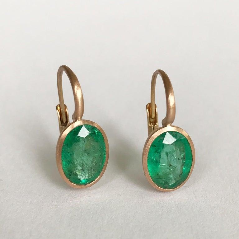 Dalben Oval Cut Emerald Rose Gold Earrings For Sale 7