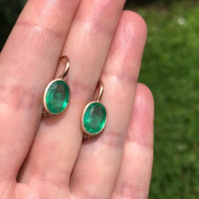 Women's Dalben Oval Cut Emerald Rose Gold Earrings For Sale
