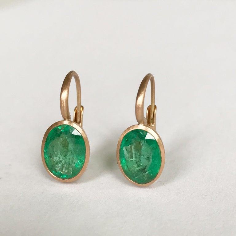 Dalben Oval Cut Emerald Rose Gold Earrings For Sale 1